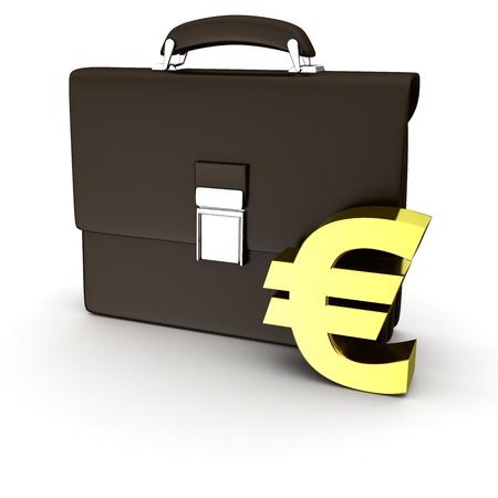 business case: Black business case en gouden euro-symbool op de witte achtergrond