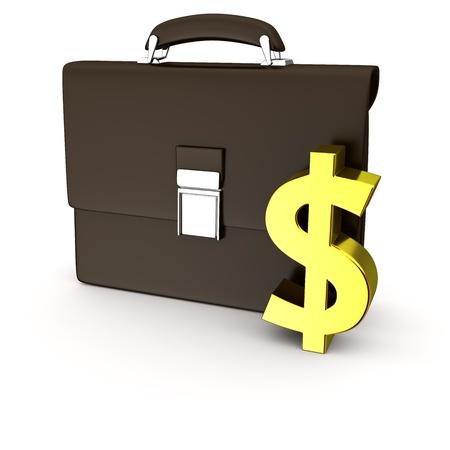 business case: Black business case en gouden dollar symbool op de witte achtergrond