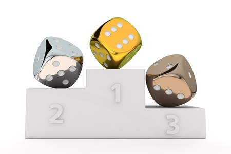 Golden, silver and bronze dice on the winners pedestal photo