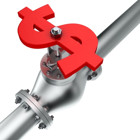 Dollar valve on the pipeline, concept of energy crisis