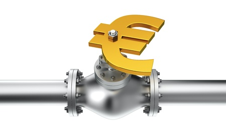 stop gate valve: Euro valve on the pipeline, concept of energy crisis Stock Photo