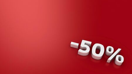 Symbol -50% on the red background, 3d computer graphic photo