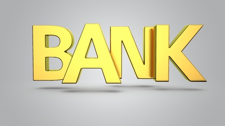 groundless: Golden letters Bank on the grey background Stock Photo