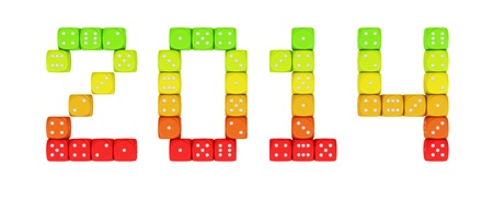 2014 made from vibrant energy dice on the white background Stock Photo - 18681807