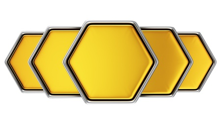 3D metal hexagonal banners on the white background photo