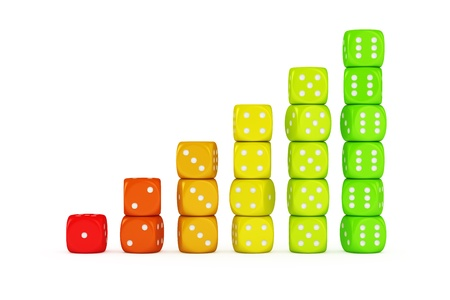 energy use: Multicolored dice - concept of efficient energy use