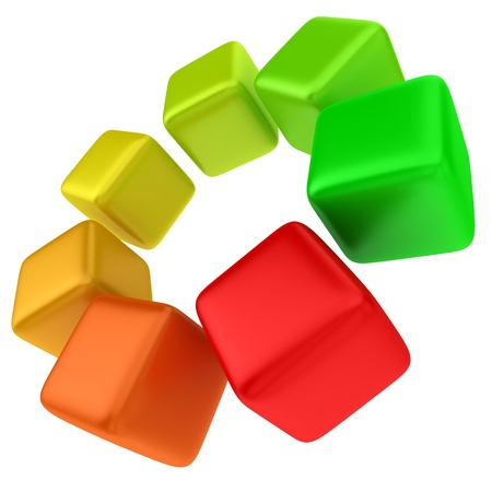 energy use: Multicolored cubes - concept of efficient energy use