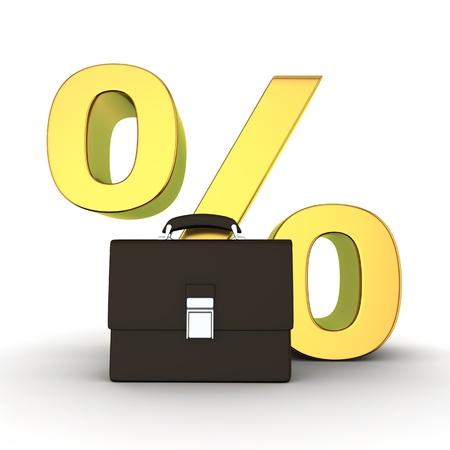 business case: Black business case en gouden percentage symbool op de witte achtergrond