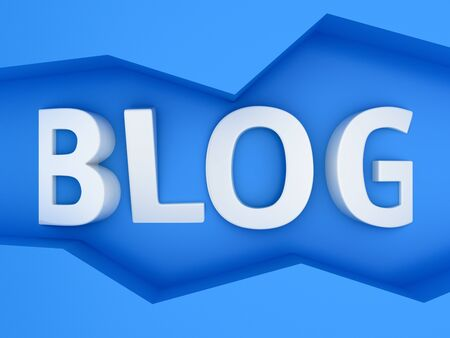 Three-dimensional word Blog in the zig-zag frame on the blue wall Stock Photo - 18800825