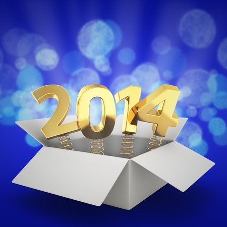 Gift box with golden digits 2014 on the blue background photo