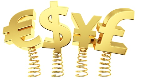 Golden currency symbols jumping on springs