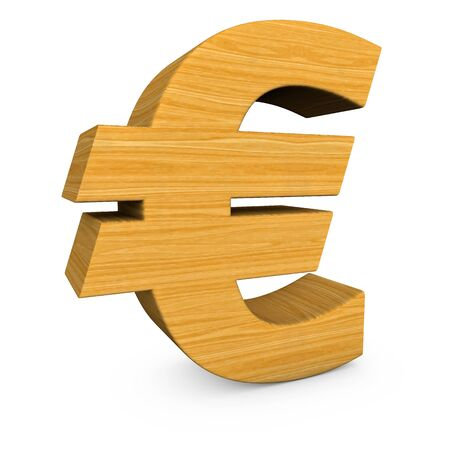 Wooden Euro Symbol On The White Background Stock Photo Picture And