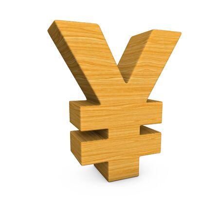 yen sign: Wooden yen sign on the white background