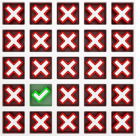 One green check mark and many cross symbols in checklist Stock Photo - 18940897