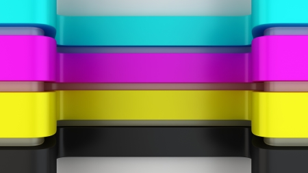 Four CMYK panels in the niche photo