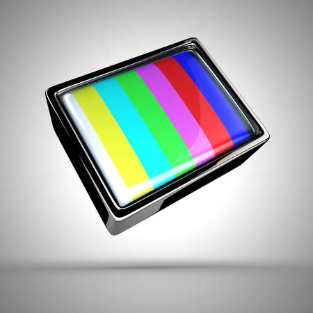 Old-fashioned television with a classic test pattern photo
