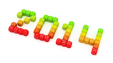 2014 made from vibrant energy dice on the white background Stock Photo - 18994826