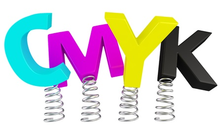 polygraphic: The word CMYK jumping on springs