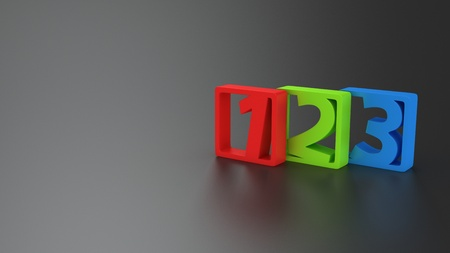 Colorful digits 1, 2, 3 on the gray background with copy space for text photo