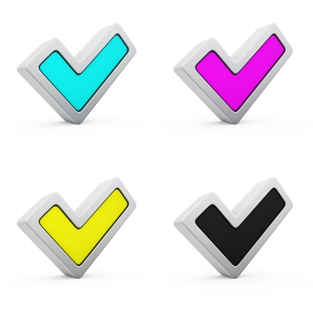 Four checkmarks of CMYK colours photo
