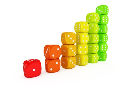 Multicolored dice - concept of efficient energy use photo