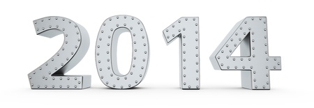 Metallic digits of new year 2014 with rivets Stock Photo - 19121576