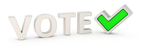 Word Vote and green tick mark Stock Photo - 19121585