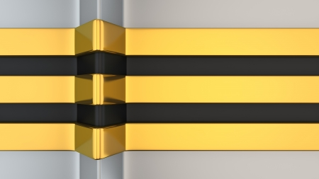 Metallic golden and black color stripes on aluminum background photo