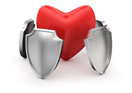 Circle of steel shield protecting big red heart
