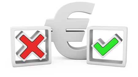 yes or no to euro: The euro sign and symbols of the positive and negative answers