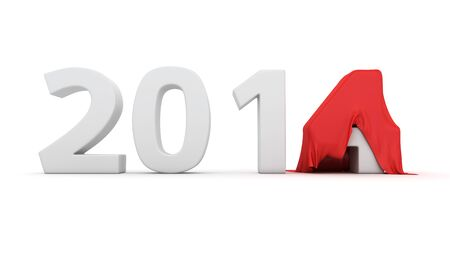 The last digit of the new year's number is covered with red cloth Stock Photo - 19159821