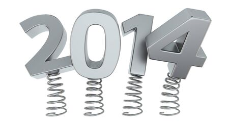 Chrome digits 2014 jumping on springs Stock Photo - 19159820