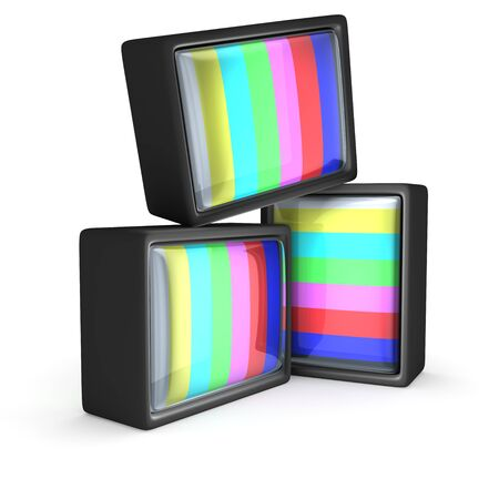 Old-fashioned televisions with a classic test pattern photo