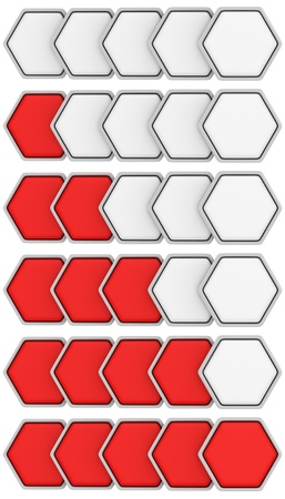 Set of red-white hexagonal ranking icons photo
