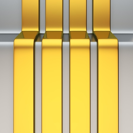 Four vertical golden metal stripes over aluminum surface Stock Photo - 19238822