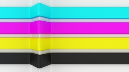 Four stripes of CMYK colors photo