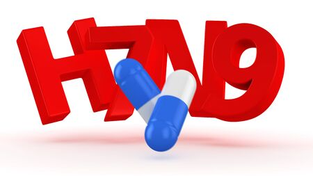 avian flu: Two blue and white capsules break letters H7N9 Stock Photo