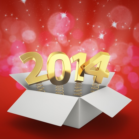 Gift box with golden digits 2014 on the glittering red background photo