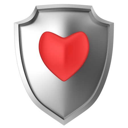 Red heart symbol on steel shield isolated Stock Photo - 19314411