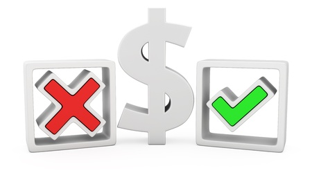The dollar sign and symbols of the positive and negative answers Stock Photo - 19475610