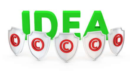 authorship: Squad of copyright shields protecting the idea