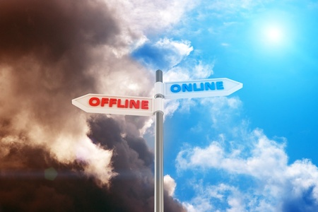 offline: Two way pointer Online and Offline against contrast sky