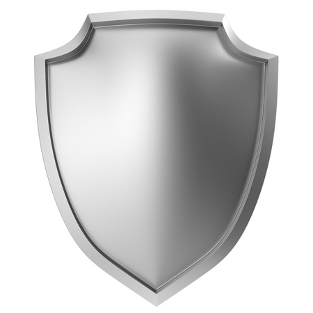 3d shield: Blank metal shield icon on white