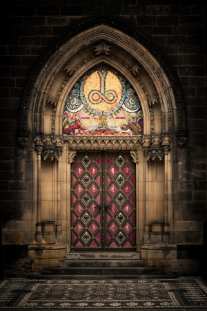 Entrance door of St. Peter and Paul church in Prague Stock Photo