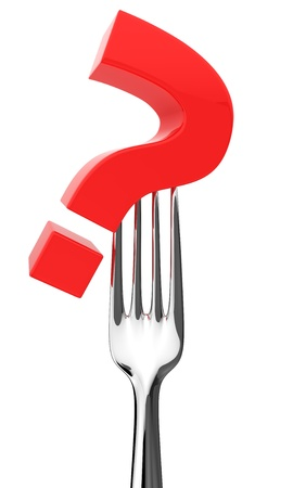 eating questions: Red question on a fork isolated