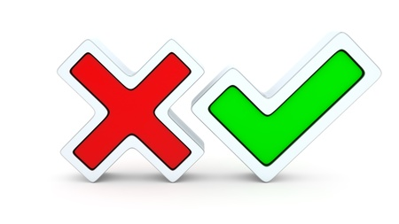 cross mark: Front view of positive and negative checkmarks