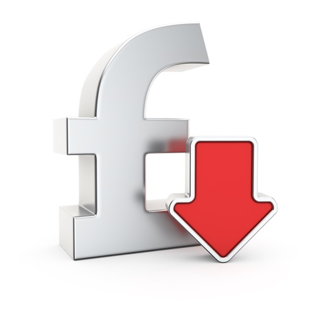 Pound currency symbol and icon of depreciation