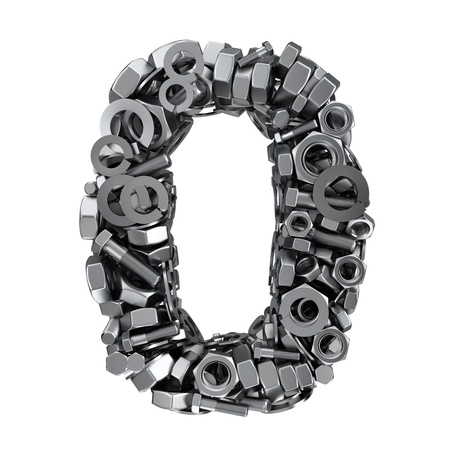 null: Big digit Zero made from metal fasteners Stock Photo