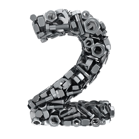 fasteners: Big digit Two made from metal fasteners