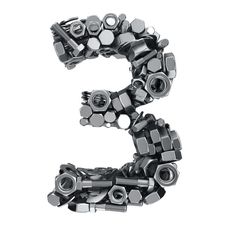 fasteners: Big digit Three made from metal fasteners Stock Photo